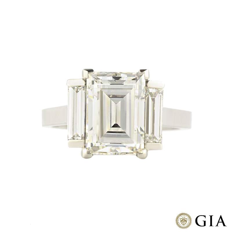 Platinum Baguette Cut Trilogy Diamond Ring 3.64ct F/VS2